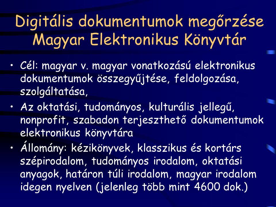 Digitális dokumentumok megőrzése Magyar Elektronikus Könyvtár