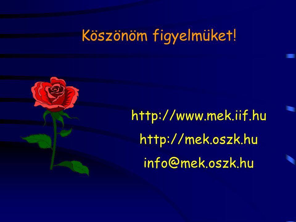 Köszönöm figyelmüket! http://www.mek.iif.hu http://mek.oszk.hu