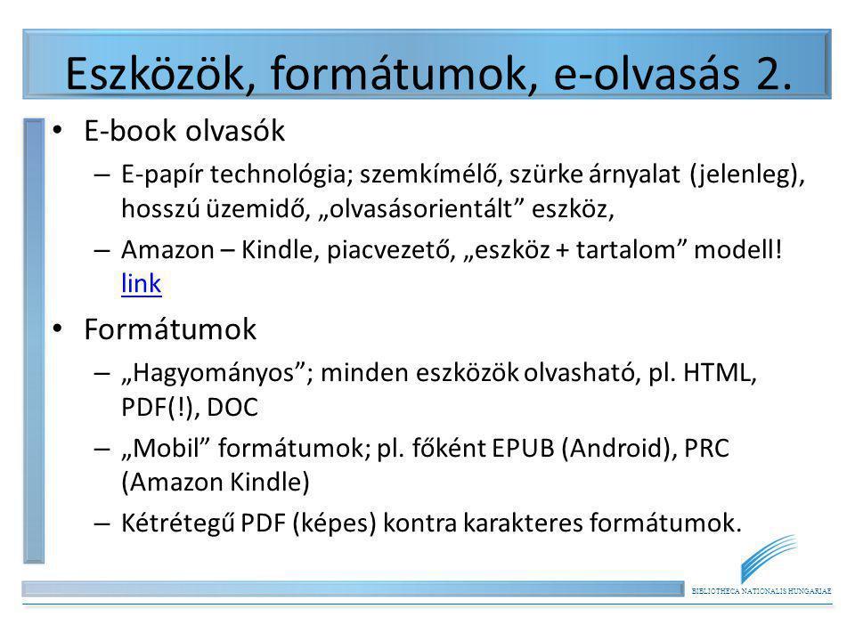 Eszközök, formátumok, e-olvasás 2.