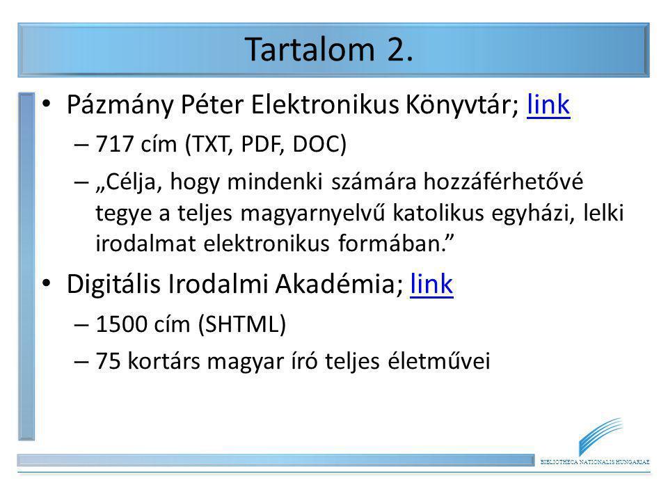 Tartalom 2. Pázmány Péter Elektronikus Könyvtár; link