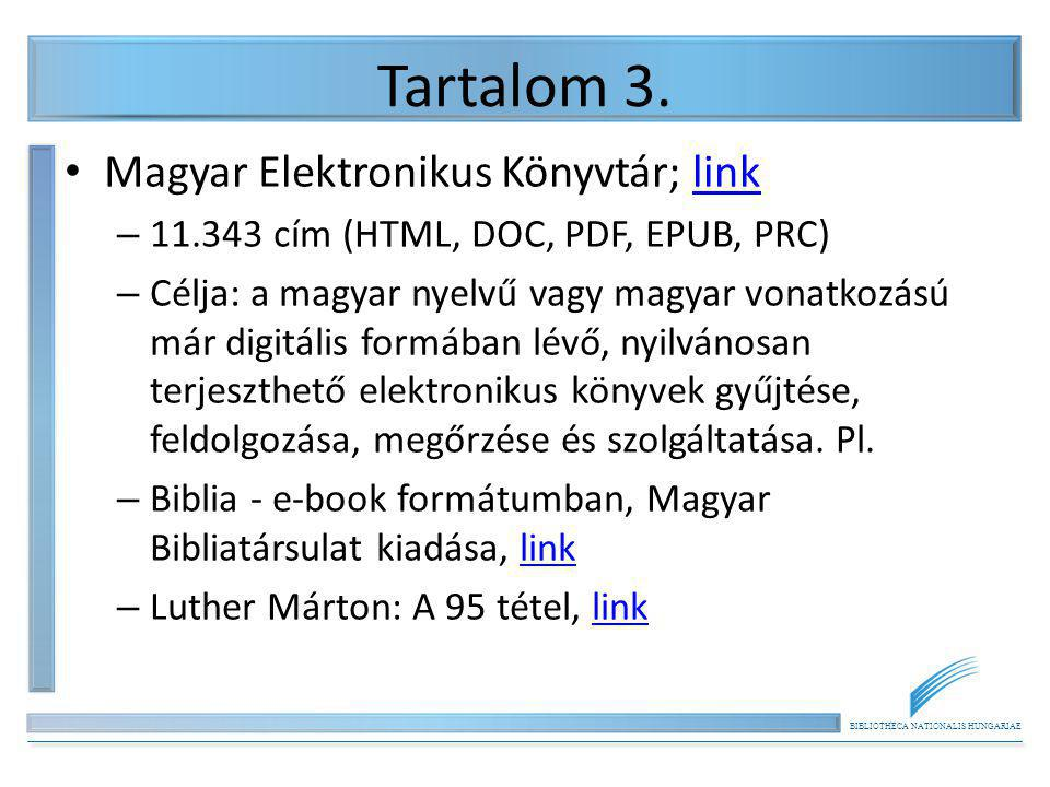 Tartalom 3. Magyar Elektronikus Könyvtár; link