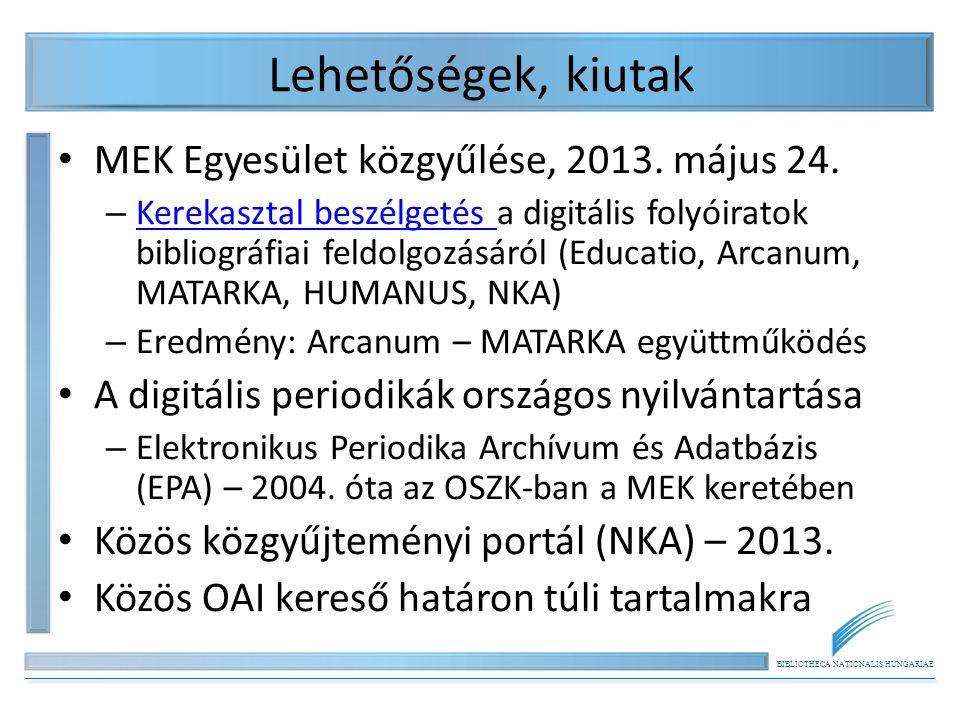 Lehetőségek, kiutak MEK Egyesület közgyűlése, 2013. május 24.
