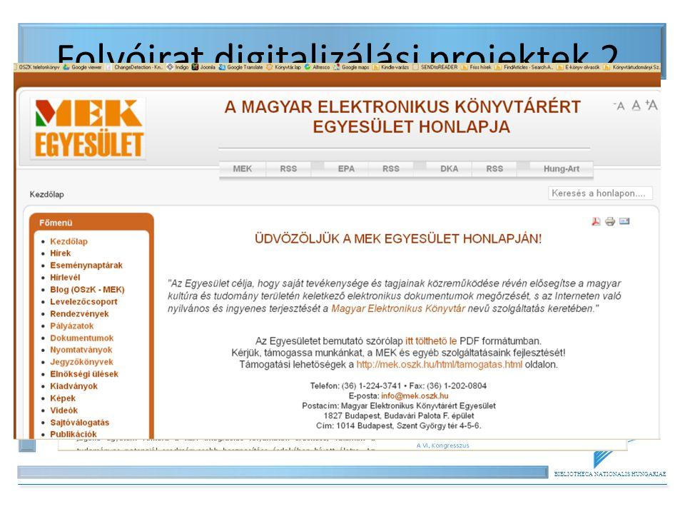 Folyóirat digitalizálási projektek 2.