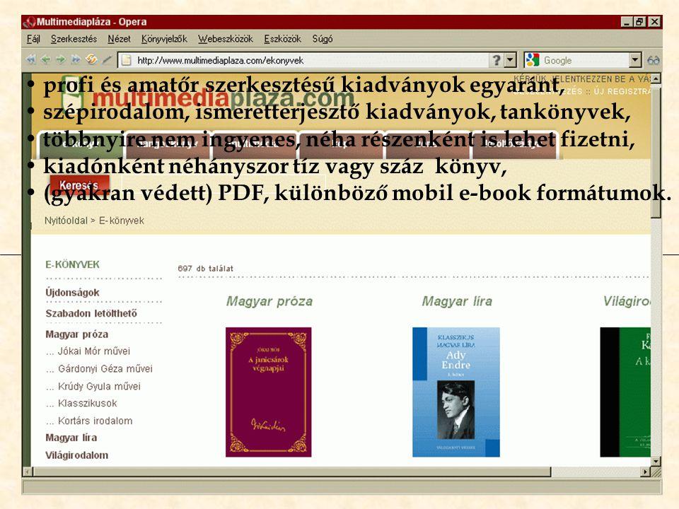 E-könyv kiadók és -forgalmazók könyvei