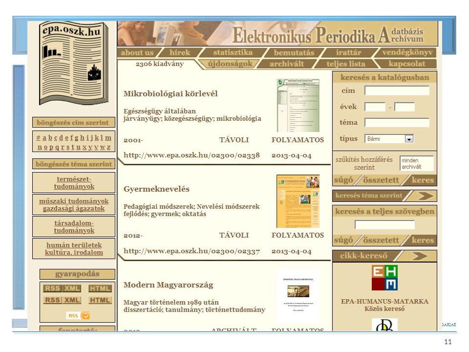 Elektronikus Periodika Archívum és Adatbázis (EPA) 1.