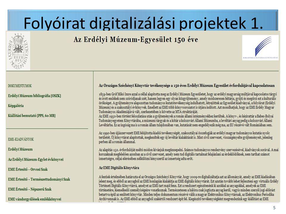 Folyóirat digitalizálási projektek 1.