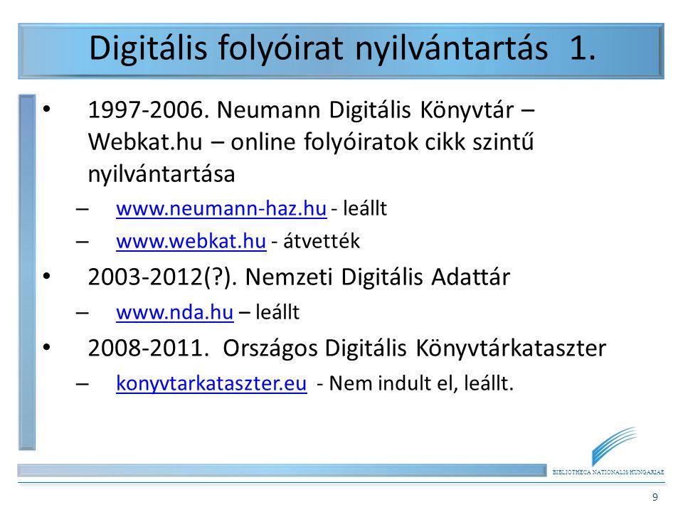 Digitális folyóirat nyilvántartás 1.