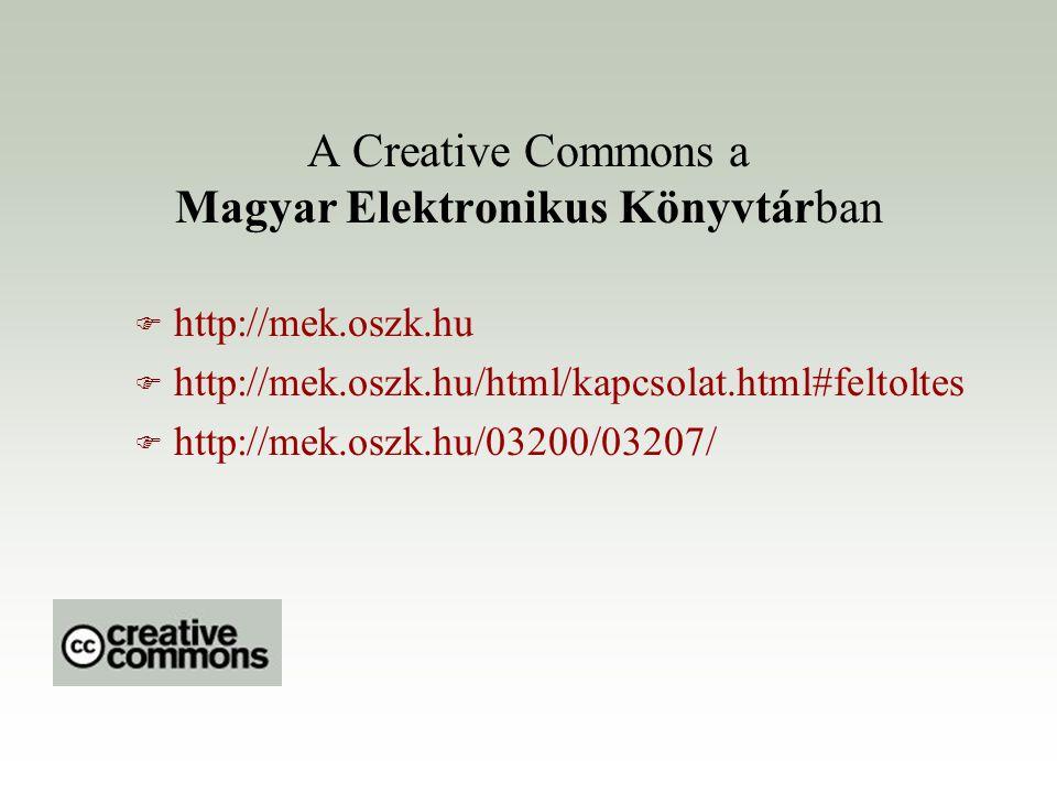 A Creative Commons a Magyar Elektronikus Könyvtárban