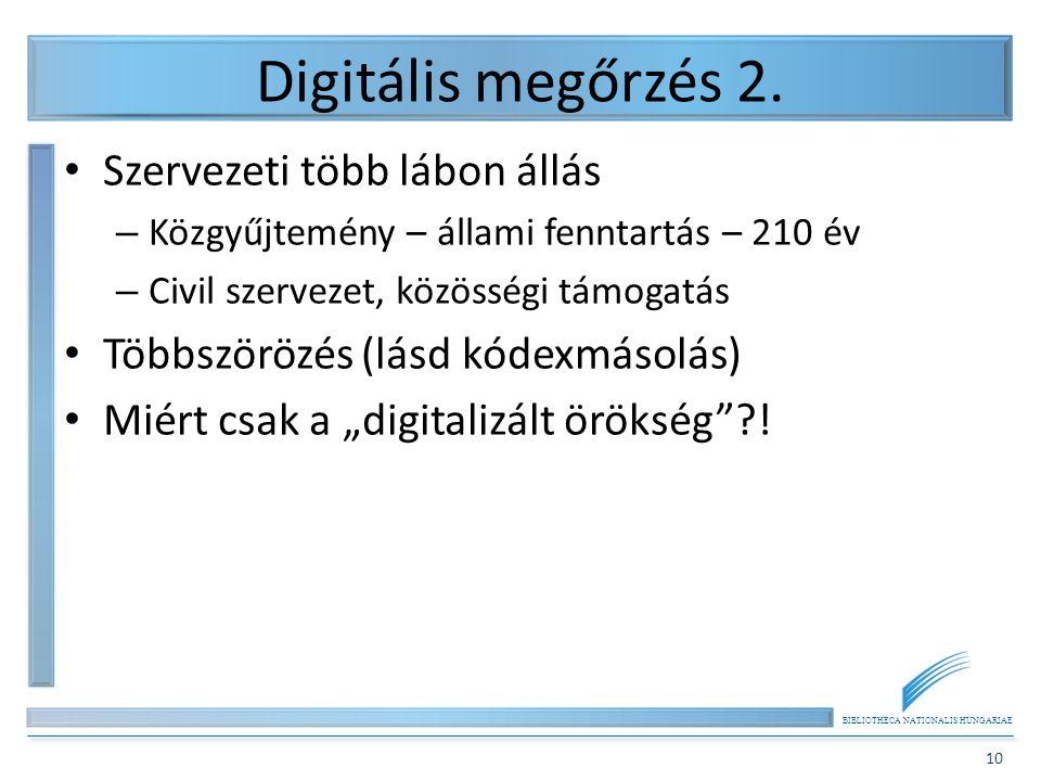 Digitális megőrzés 2. Szervezeti több lábon állás