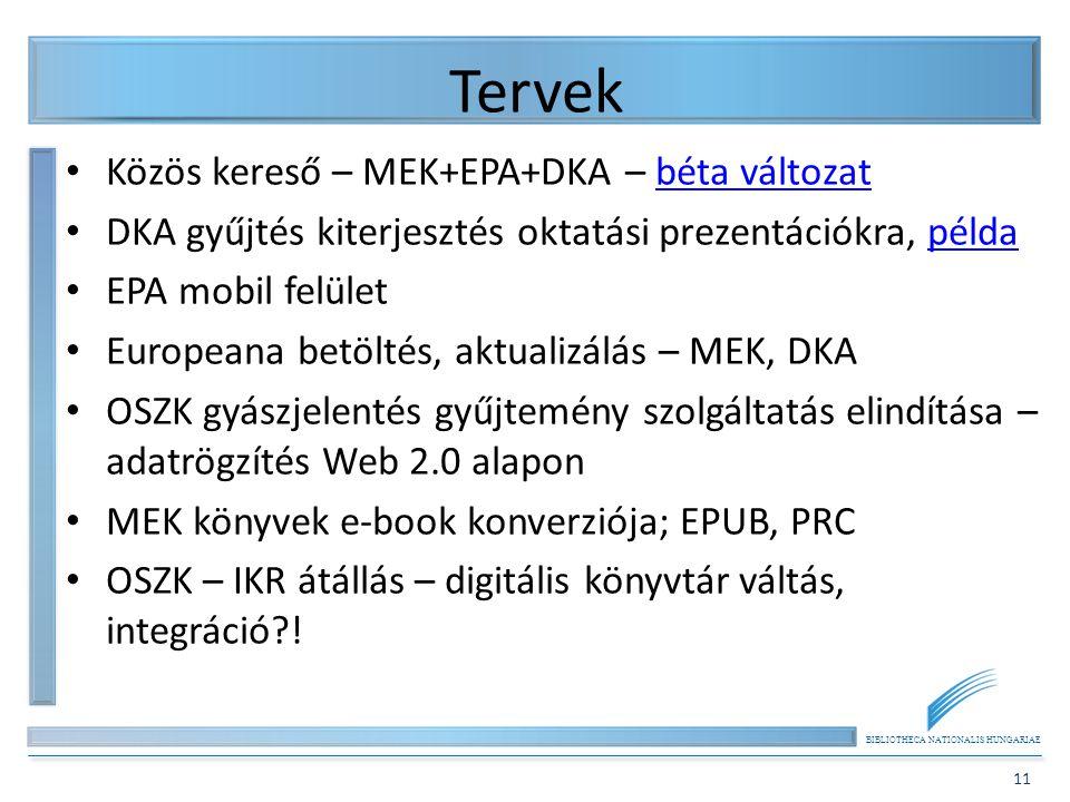 Tervek Közös kereső – MEK+EPA+DKA – béta változat