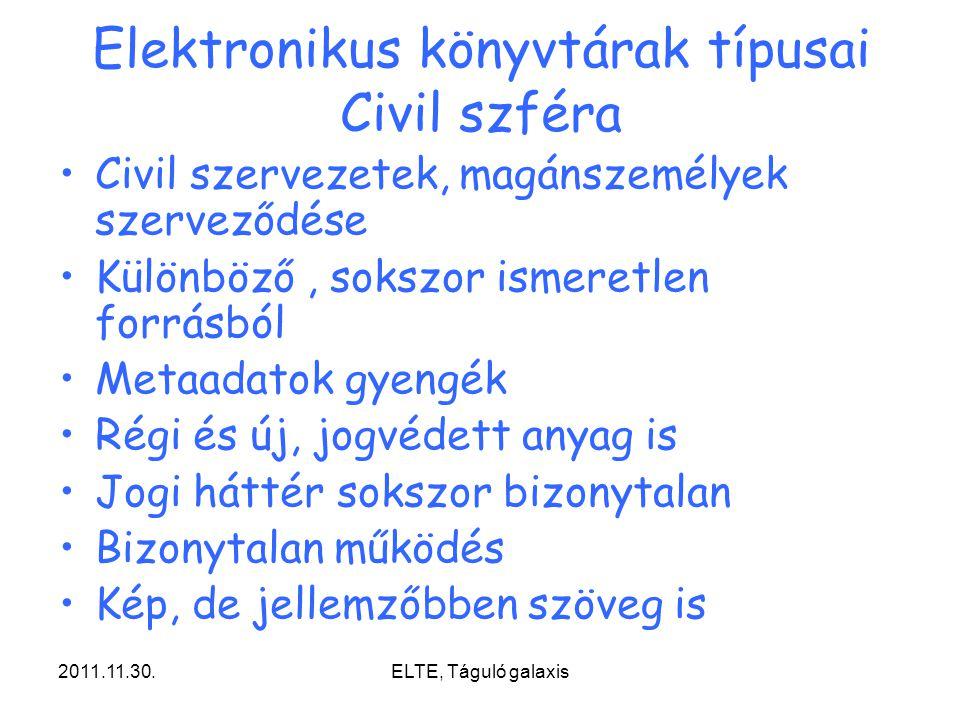 Elektronikus könyvtárak típusai Civil szféra