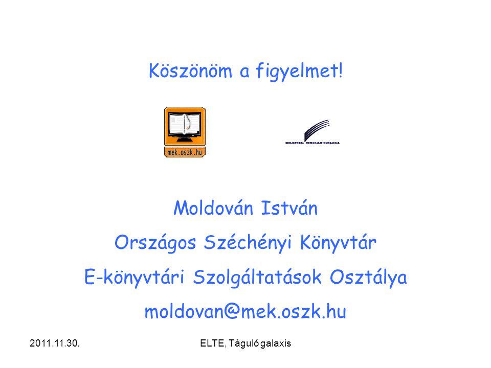 Országos Széchényi Könyvtár E-könyvtári Szolgáltatások Osztálya
