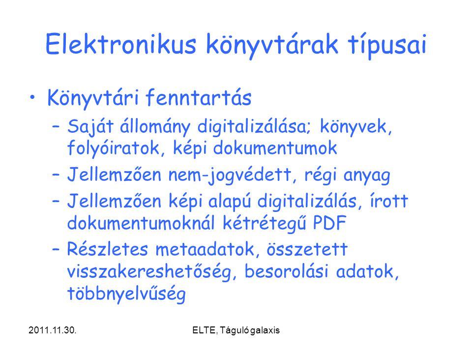 Elektronikus könyvtárak típusai