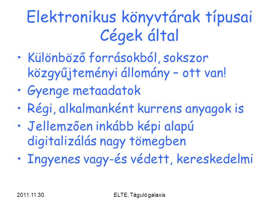 Elektronikus könyvtárak típusai Cégek által
