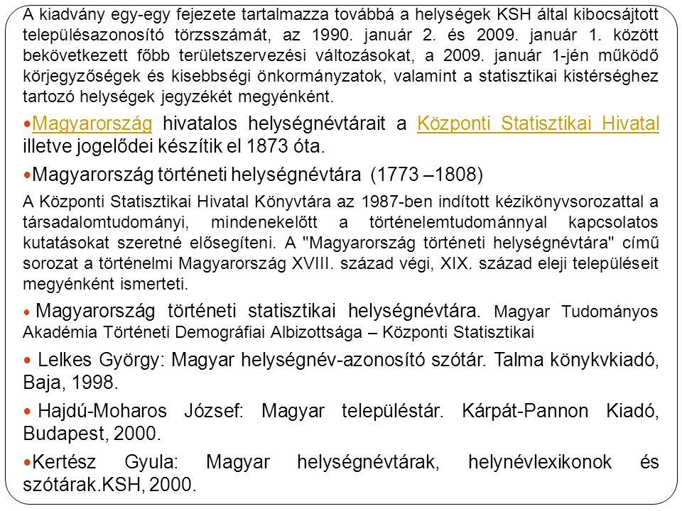 Magyarország történeti helységnévtára (1773 –1808)