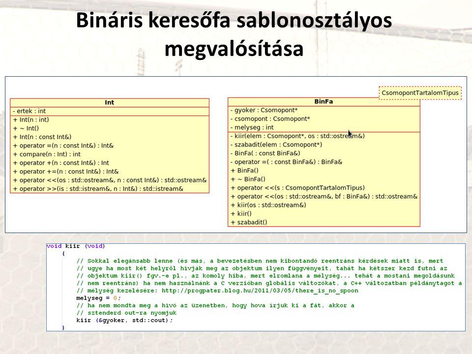 Bináris keresőfa sablonosztályos megvalósítása