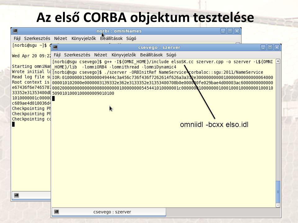 Az első CORBA objektum tesztelése