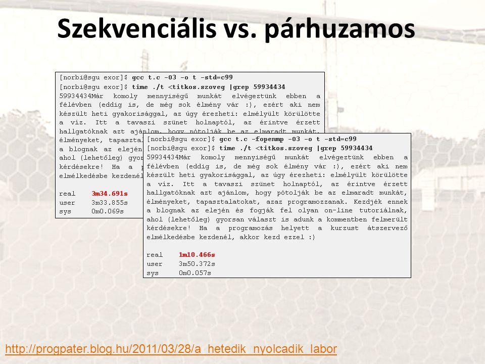 Szekvenciális vs. párhuzamos