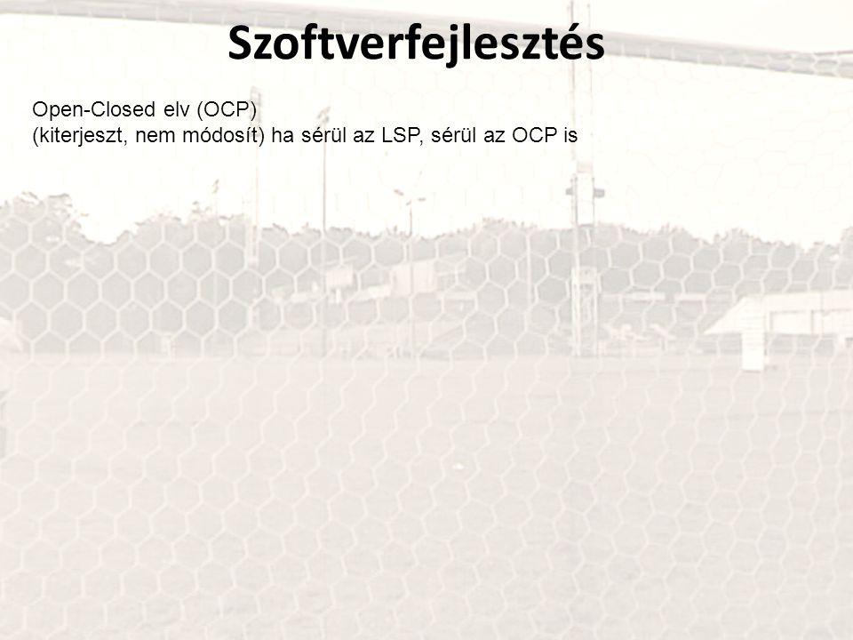 Szoftverfejlesztés Open-Closed elv (OCP) (kiterjeszt, nem módosít) ha sérül az LSP, sérül az OCP is