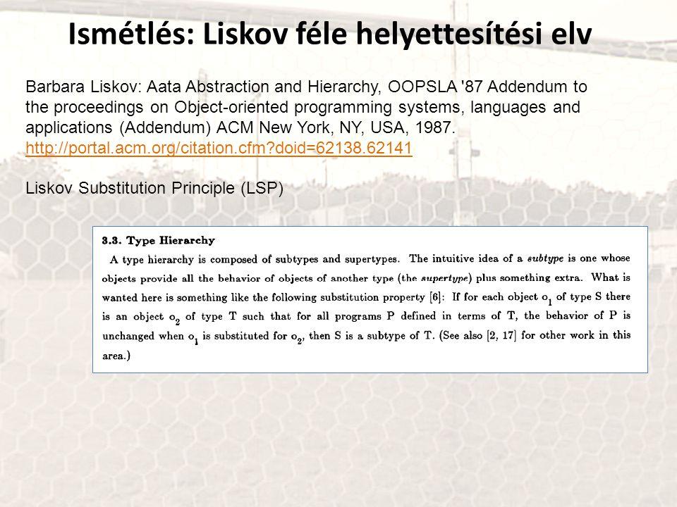 Ismétlés: Liskov féle helyettesítési elv