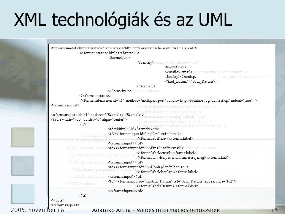 XML technológiák és az UML