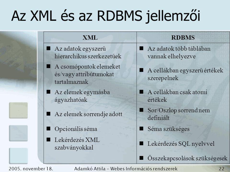 Az XML és az RDBMS jellemzői