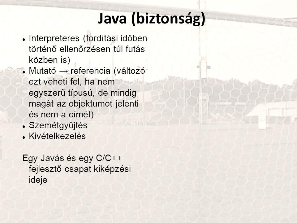 Java (biztonság) Interpreteres (fordítási időben történő ellenőrzésen túl futás közben is)