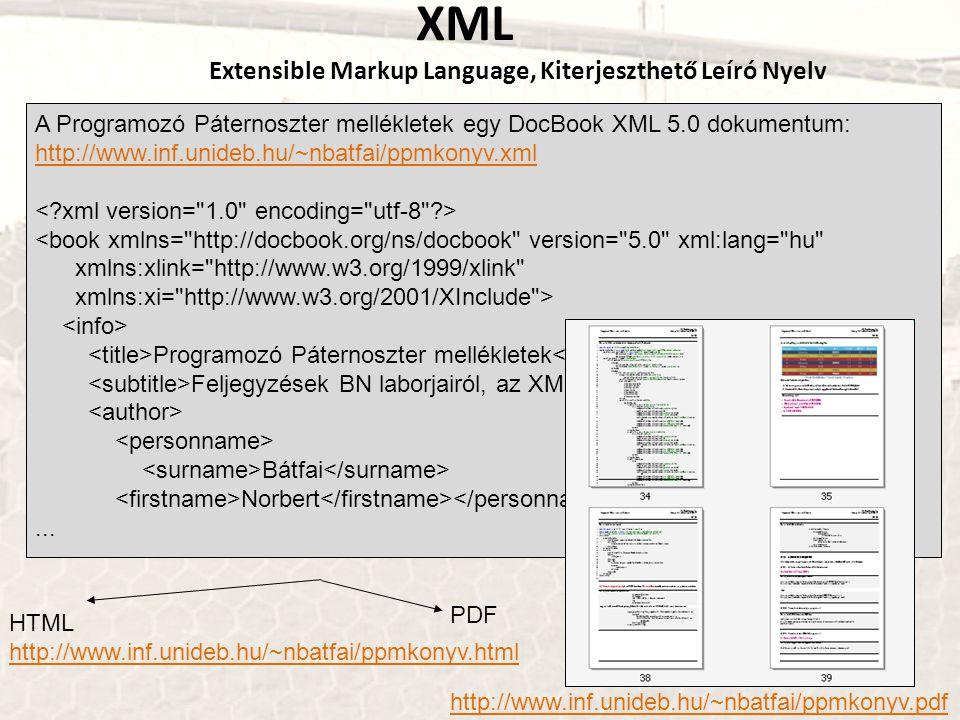 XML Extensible Markup Language, Kiterjeszthető Leíró Nyelv