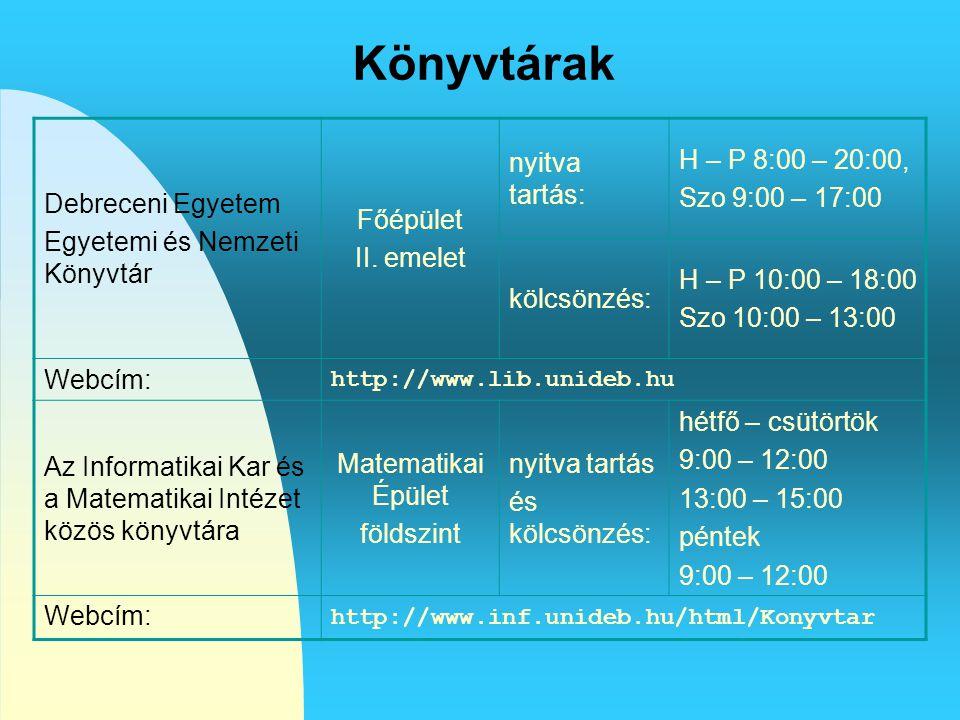 Könyvtárak Debreceni Egyetem Egyetemi és Nemzeti Könyvtár Főépület