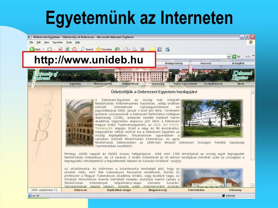 Egyetemünk az Interneten