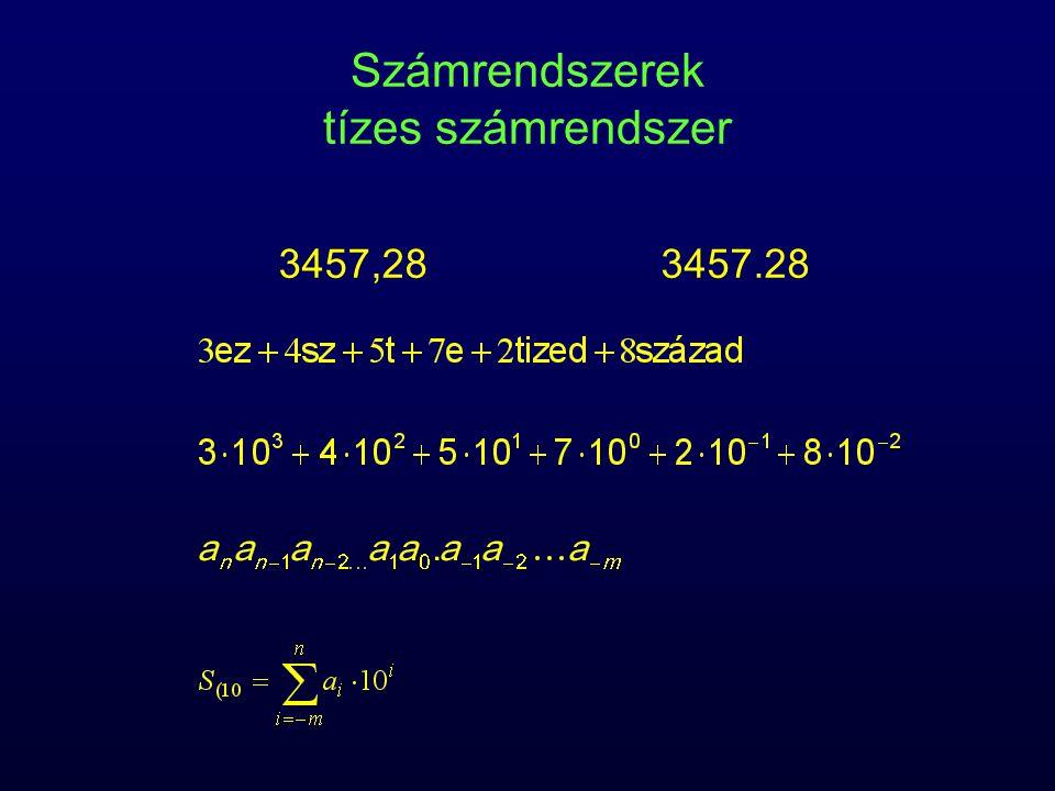 Számrendszerek tízes számrendszer