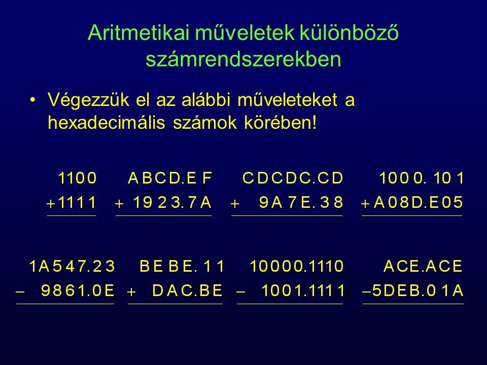 Aritmetikai műveletek különböző számrendszerekben
