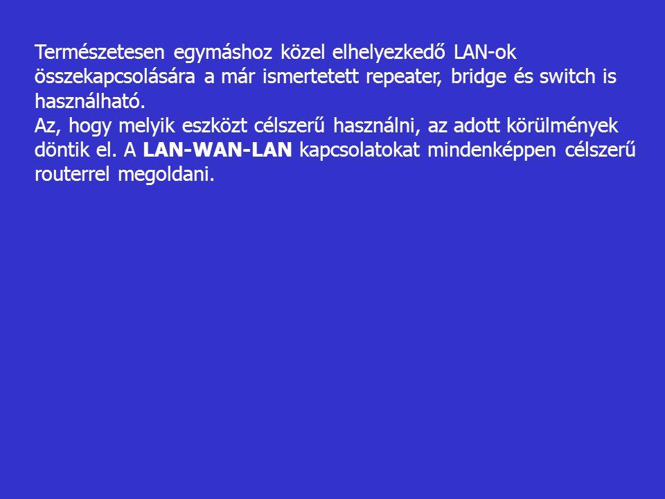 Természetesen egymáshoz közel elhelyezkedő LAN-ok összekapcsolására a már ismertetett repeater, bridge és switch is használható.