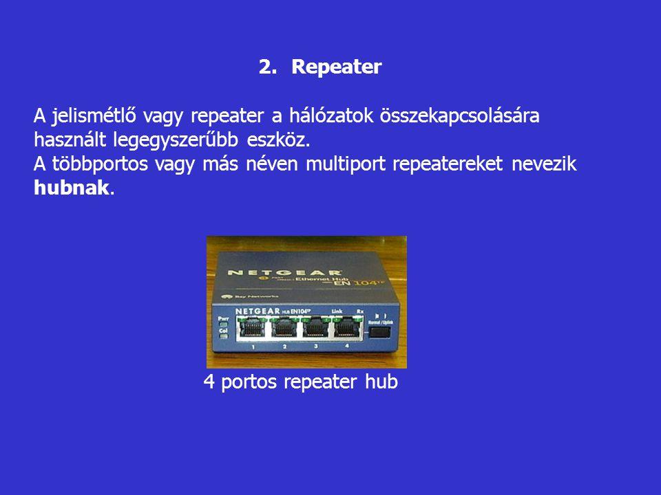 Repeater A jelismétlő vagy repeater a hálózatok összekapcsolására használt legegyszerűbb eszköz.