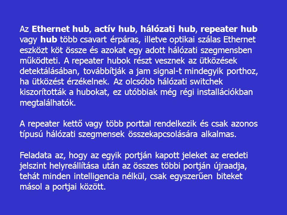 Az Ethernet hub, actív hub, hálózati hub, repeater hub vagy hub több csavart érpáras, illetve optikai szálas Ethernet eszközt köt össze és azokat egy adott hálózati szegmensben működteti. A repeater hubok részt vesznek az ütközések detektálásában, továbbítják a jam signal-t mindegyik porthoz, ha ütközést érzékelnek. Az olcsóbb hálózati switchek kiszorították a hubokat, ez utóbbiak még régi installációkban megtalálhatók.