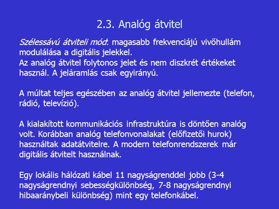 2.3. Analóg átvitel Szélessávú átviteli mód: magasabb frekvenciájú vivőhullám modulálása a digitális jelekkel.