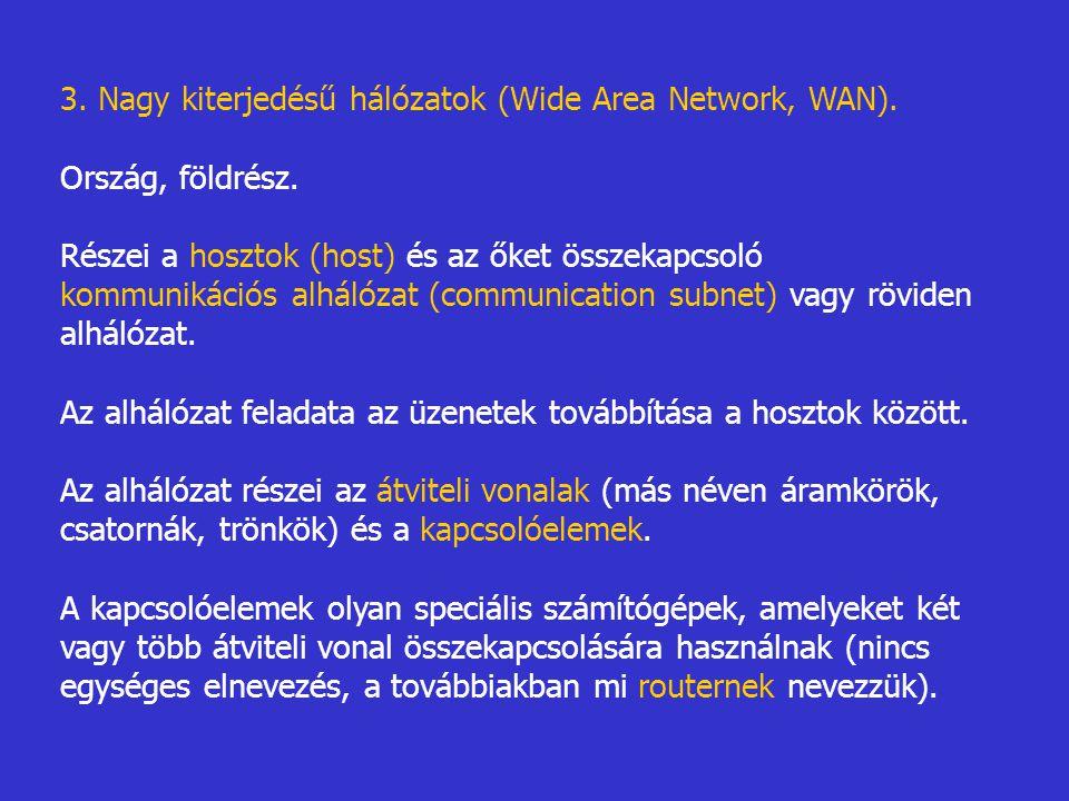 3. Nagy kiterjedésű hálózatok (Wide Area Network, WAN).