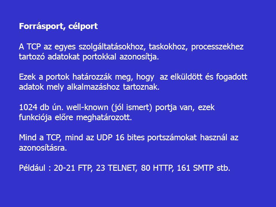 Forrásport, célport A TCP az egyes szolgáltatásokhoz, taskokhoz, processzekhez tartozó adatokat portokkal azonosítja.