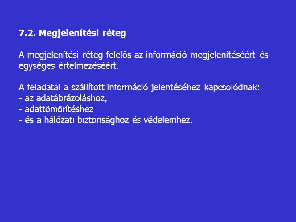 7.2. Megjelenítési réteg A megjelenítési réteg felelős az információ megjelenítéséért és egységes értelmezéséért.