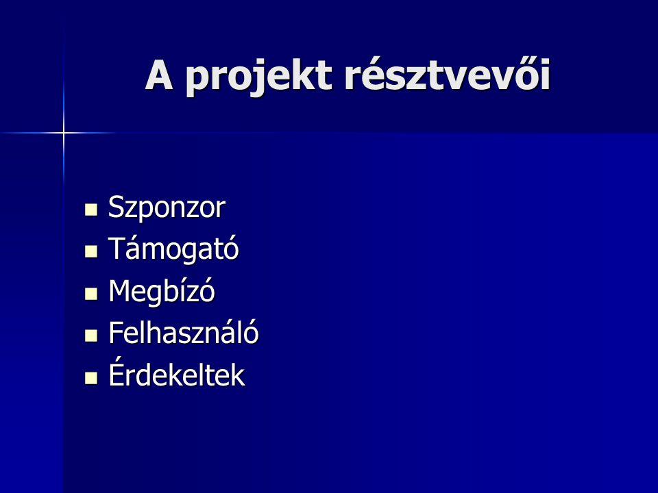 A projekt résztvevői Szponzor Támogató Megbízó Felhasználó Érdekeltek