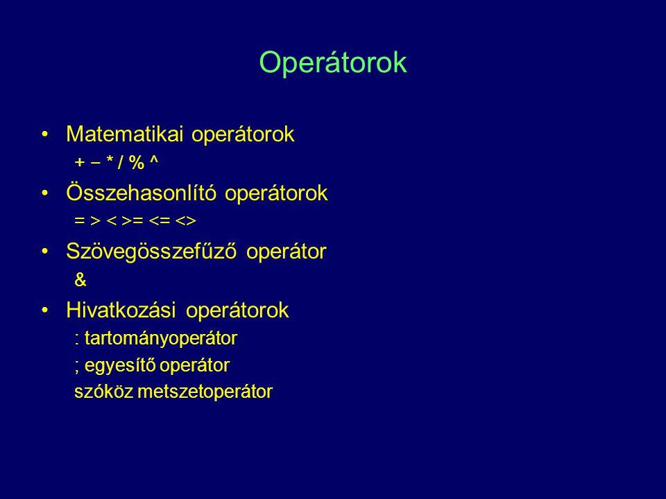Operátorok Matematikai operátorok Összehasonlító operátorok