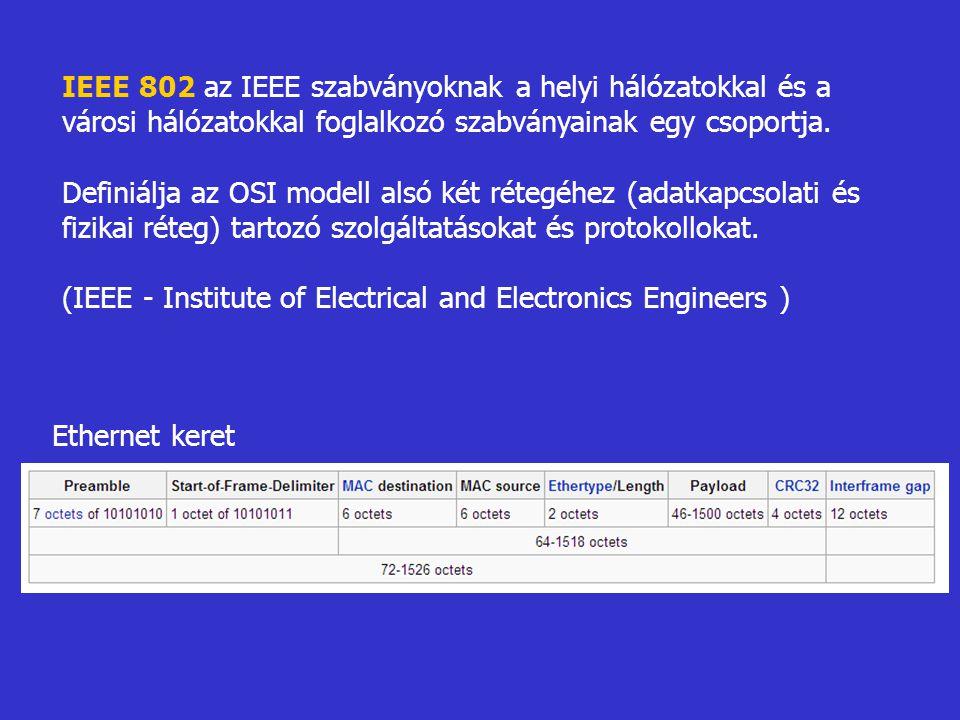 IEEE 802 az IEEE szabványoknak a helyi hálózatokkal és a városi hálózatokkal foglalkozó szabványainak egy csoportja.