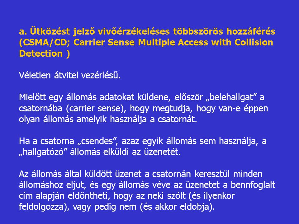 a. Ütközést jelző vivőérzékeléses többszörös hozzáférés (CSMA/CD; Carrier Sense Multiple Access with Collision Detection )