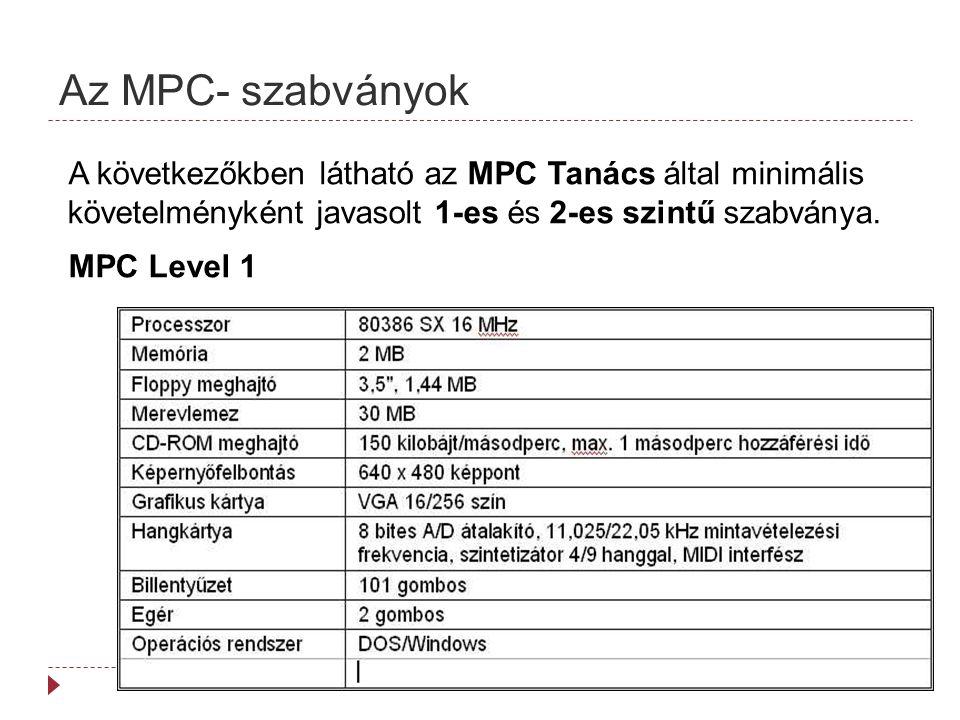 Az MPC- szabványok A következőkben látható az MPC Tanács által minimális követelményként javasolt 1-es és 2-es szintű szabványa.
