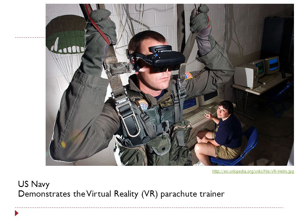 US Navy Demonstrates the Virtual Reality (VR) parachute trainer
