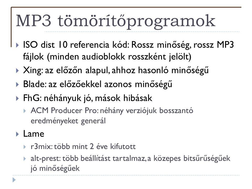 MP3 tömörítőprogramok ISO dist 10 referencia kód: Rossz minőség, rossz MP3 fájlok (minden audioblokk rosszként jelölt)