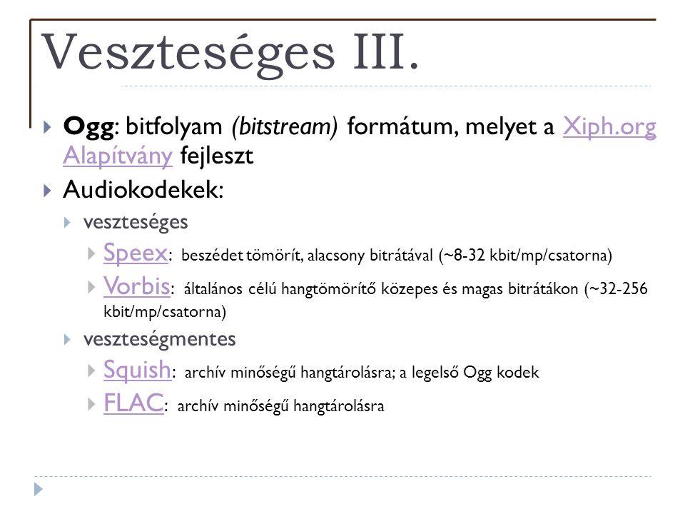 Veszteséges III. Ogg: bitfolyam (bitstream) formátum, melyet a Xiph.org Alapítvány fejleszt. Audiokodekek: