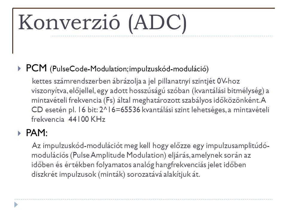 Konverzió (ADC) PCM (PulseCode-Modulation; impulzuskód-moduláció) PAM: