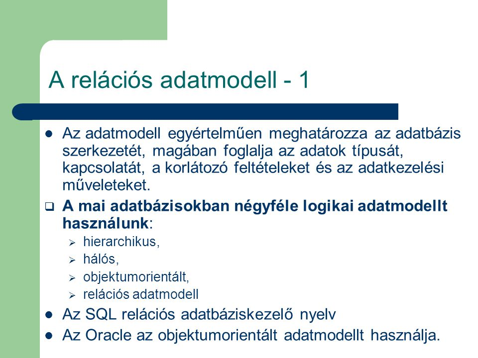 A relációs adatmodell - 1