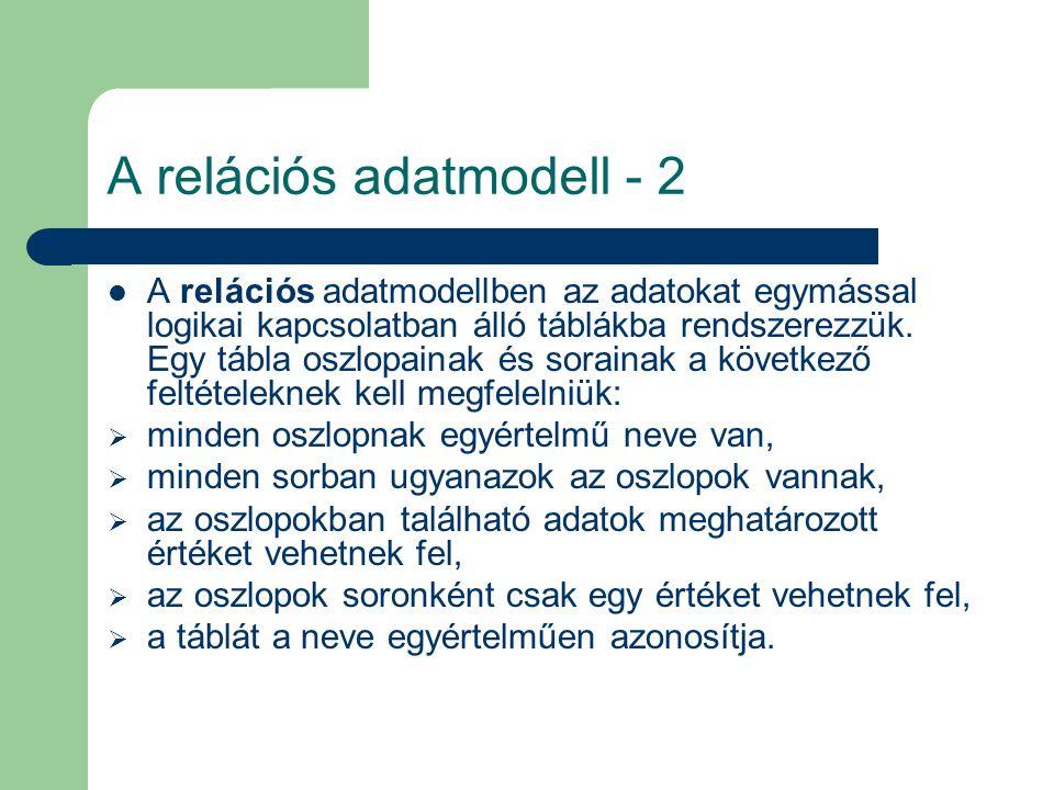 A relációs adatmodell - 2